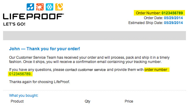 Sample LifeProof Order Number